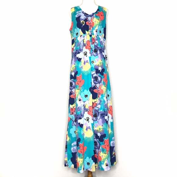 Coldwater Creek Dresses & Skirts - Coldwater Creek Green Floral Maxi Dress A150742